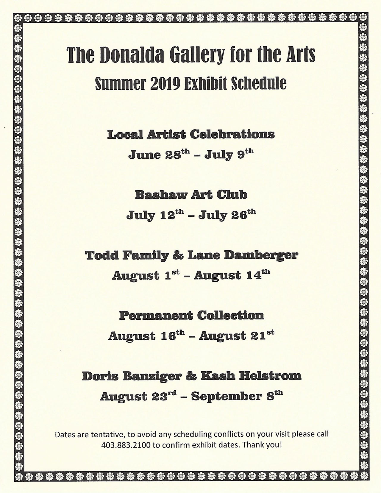 Donalda-Arts-Summer-2019-Schedule